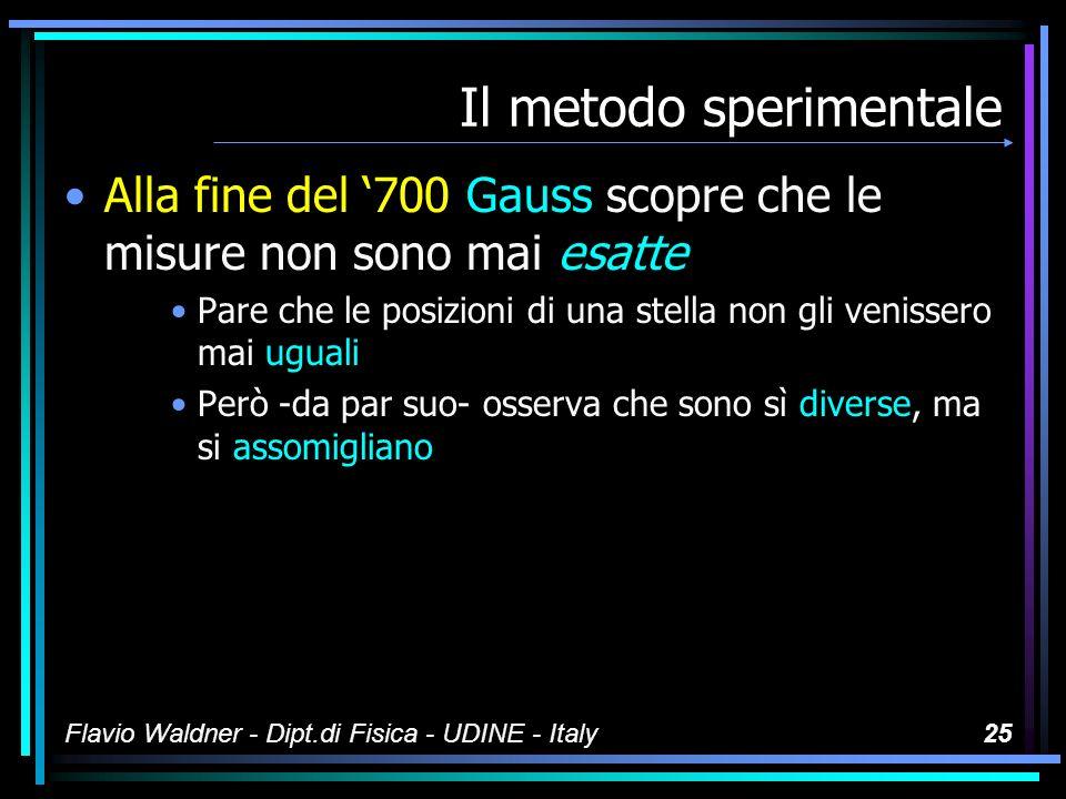 Flavio Waldner - Dipt.di Fisica - UDINE - Italy24 Il metodo sperimentale Tenete presente che anche nei problemi di Fisica nulla è esatto –...un sasso cade da 2,7 m in un punto dove laccelerazione di gravità è di 9.8 ms -2...