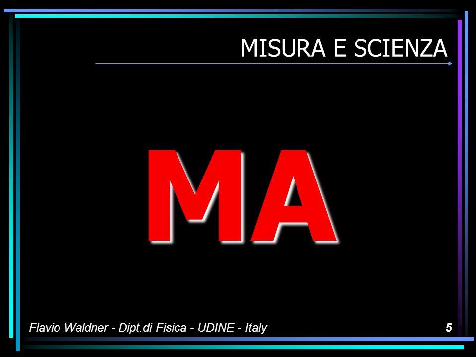 Flavio Waldner - Dipt.di Fisica - UDINE - Italy55 I sistemi di misura I numeri si scrivono solo –In notazione scientifica Mantissa da 1 a 10 Ordine di grandezza: quel che è –In notazione tecnica Mantissa da 1 a 1000 Ordine di grandezza con uso dei prefissi