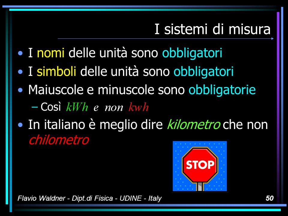 Flavio Waldner - Dipt.di Fisica - UDINE - Italy49 I sistemi di misura Tutti i nomi delle unità cominciano con la lettera minuscola Le maiuscole o minuscole nei simboli sono obbligatorie