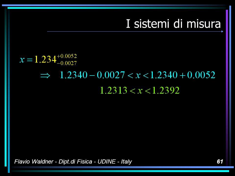 Flavio Waldner - Dipt.di Fisica - UDINE - Italy60 I sistemi di misura Notazioni possibili per gli intervalli di confidenza