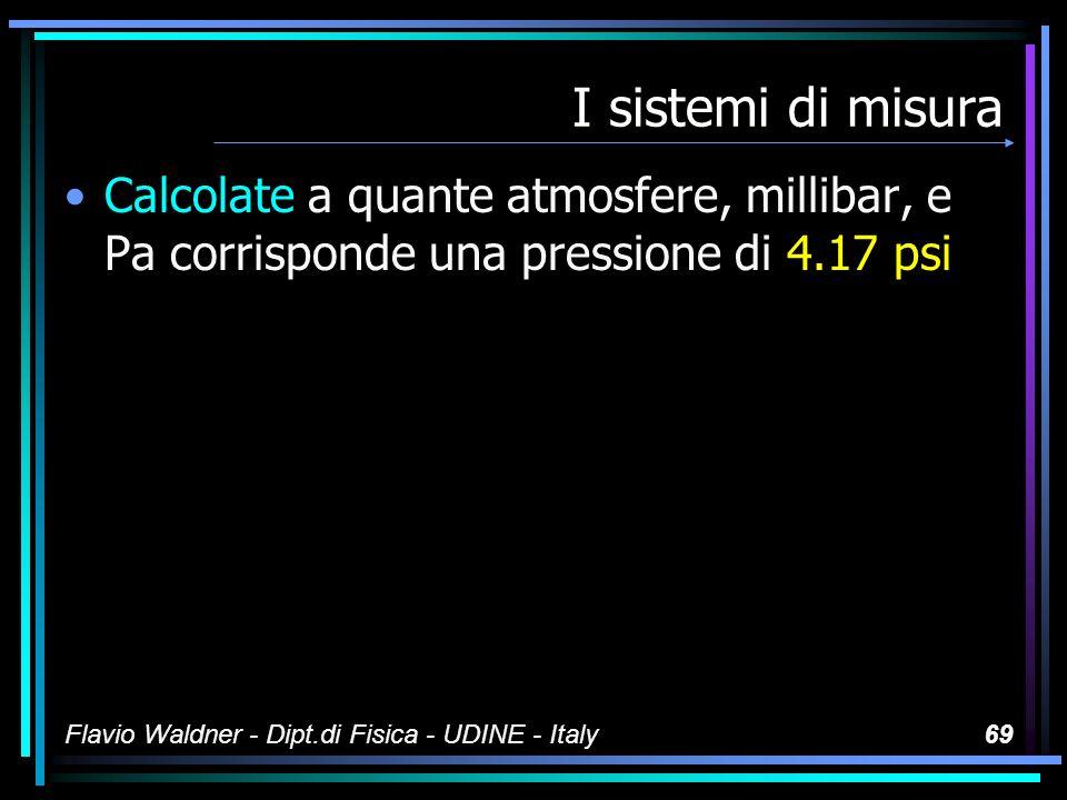 Flavio Waldner - Dipt.di Fisica - UDINE - Italy68 I sistemi di misura Un esempio: