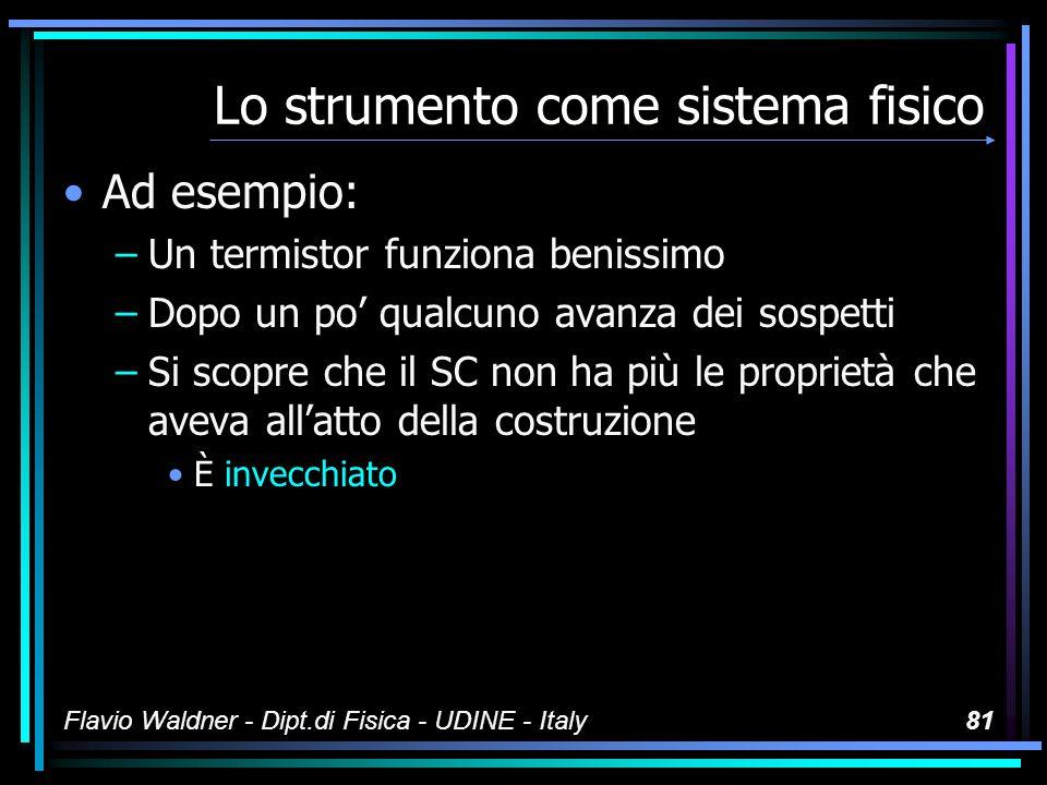 Flavio Waldner - Dipt.di Fisica - UDINE - Italy80 Lo strumento come sistema fisico In ogni caso lo strumento È un sistema fisico Noi crediamo di conoscerlo bene perché lo abbiamo progettato »È meglio non fidarsene mai troppo