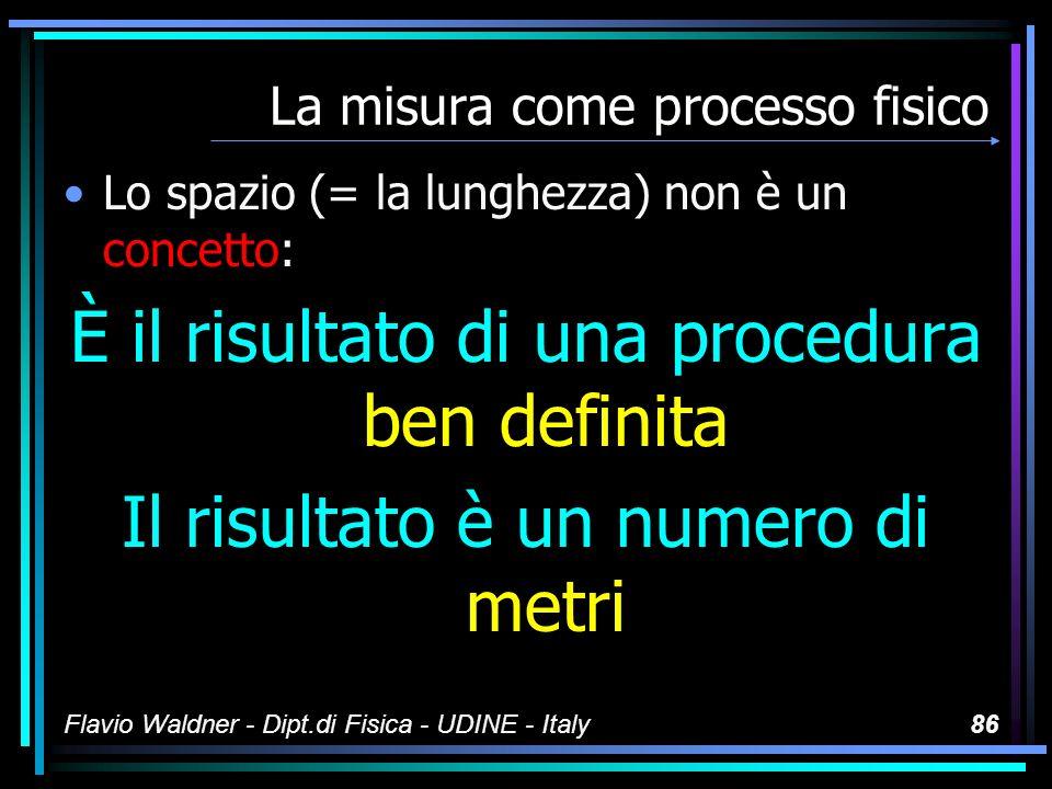 Flavio Waldner - Dipt.di Fisica - UDINE - Italy85 La misura come processo fisico Non basta avere strumenti OCCORRE DEFINIRE UNA PROCEDURA PER OTTENERE I NUMERI DEFINITIVI