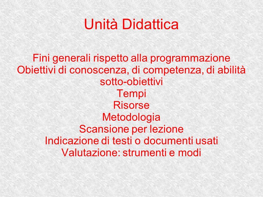 Unità Didattica Fini generali rispetto alla programmazione Obiettivi di conoscenza, di competenza, di abilità sotto-obiettivi Tempi Risorse Metodologi