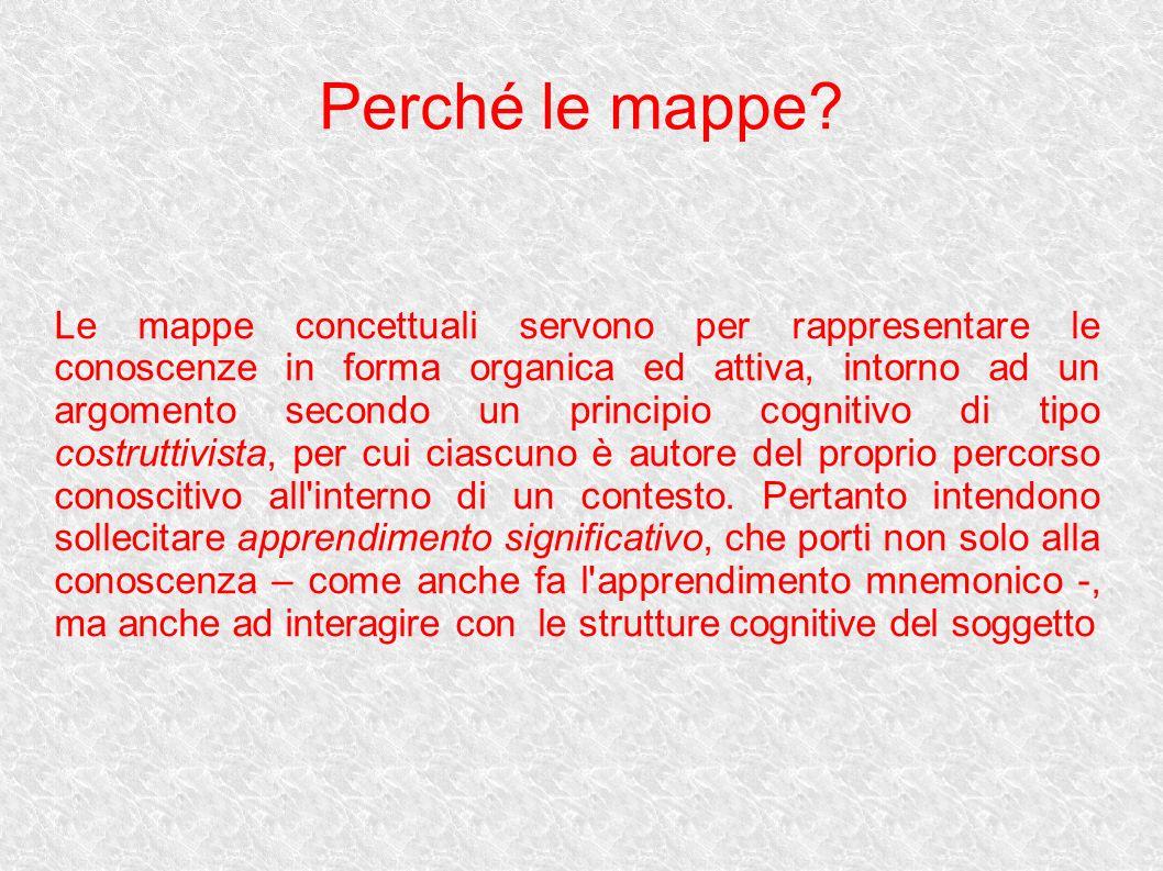 Perché le mappe? Le mappe concettuali servono per rappresentare le conoscenze in forma organica ed attiva, intorno ad un argomento secondo un principi