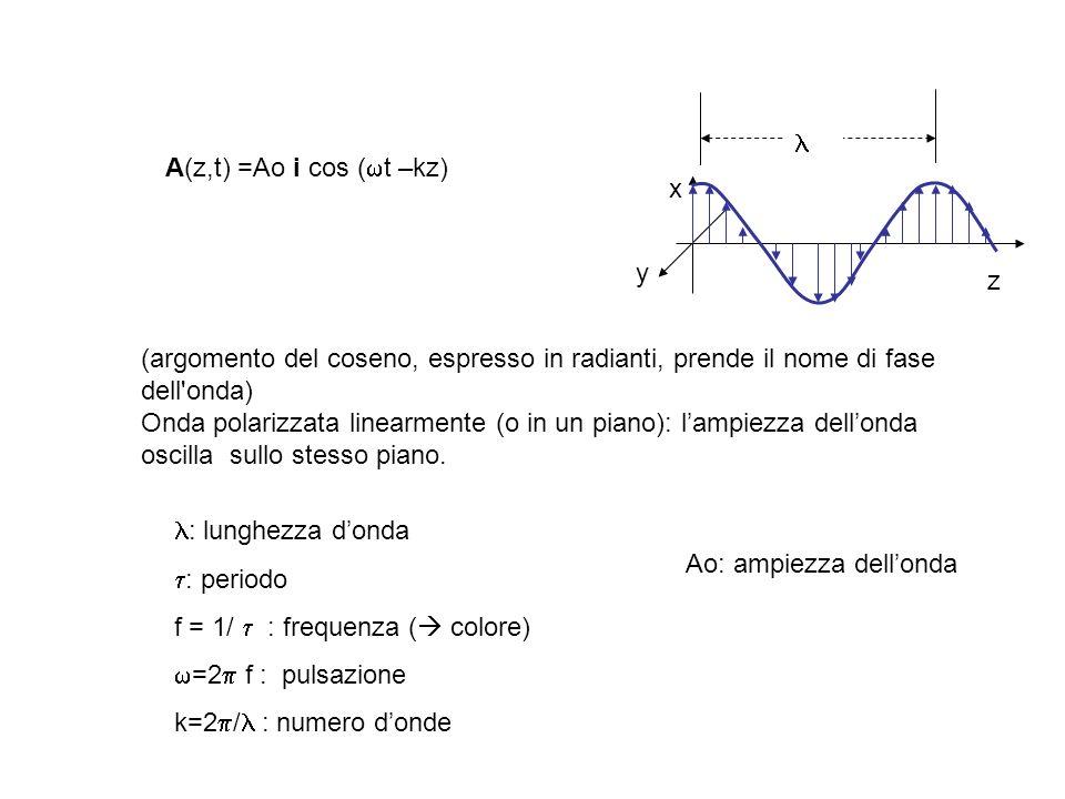 (argomento del coseno, espresso in radianti, prende il nome di fase dell'onda) Onda polarizzata linearmente (o in un piano): lampiezza dellonda oscill
