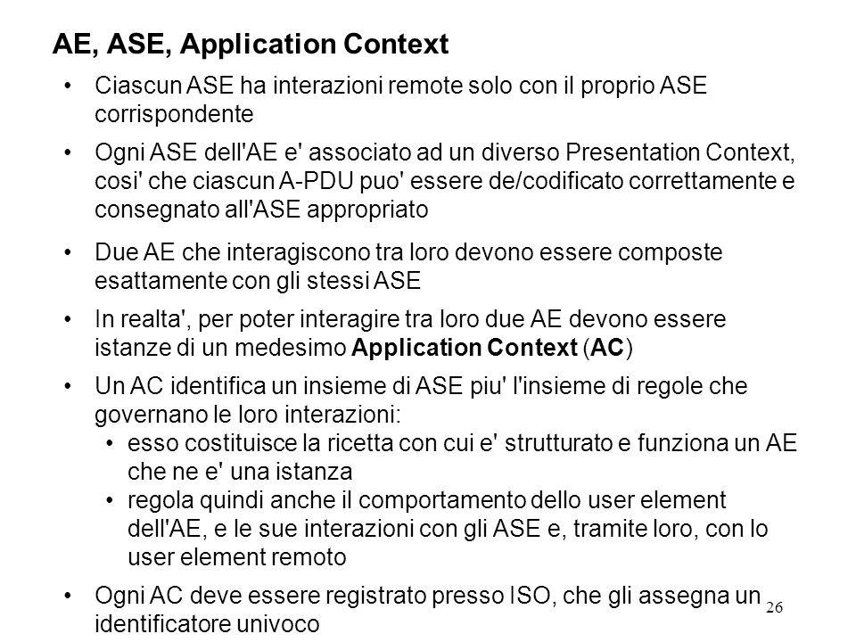 26 AE, ASE, Application Context Ciascun ASE ha interazioni remote solo con il proprio ASE corrispondente Ogni ASE dell'AE e' associato ad un diverso P