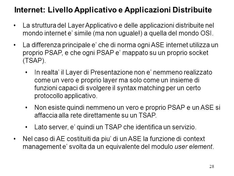 28 Internet: Livello Applicativo e Applicazioni Distribuite La struttura del Layer Applicativo e delle applicazioni distribuite nel mondo internet e s