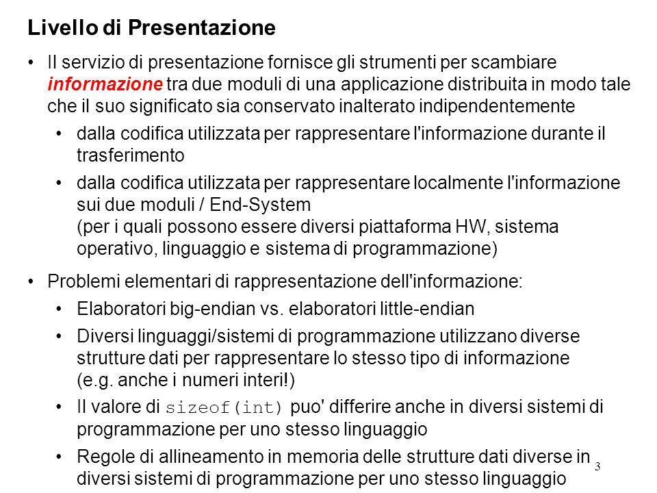 3 Livello di Presentazione Il servizio di presentazione fornisce gli strumenti per scambiare informazione tra due moduli di una applicazione distribui