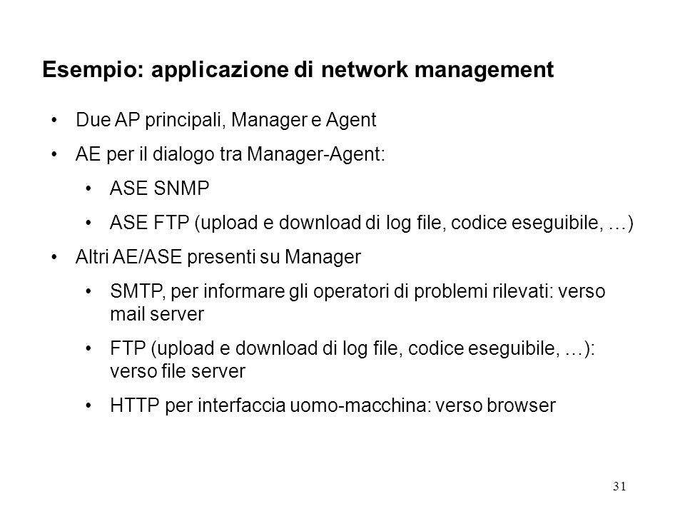 31 Esempio: applicazione di network management Due AP principali, Manager e Agent AE per il dialogo tra Manager-Agent: ASE SNMP ASE FTP (upload e down
