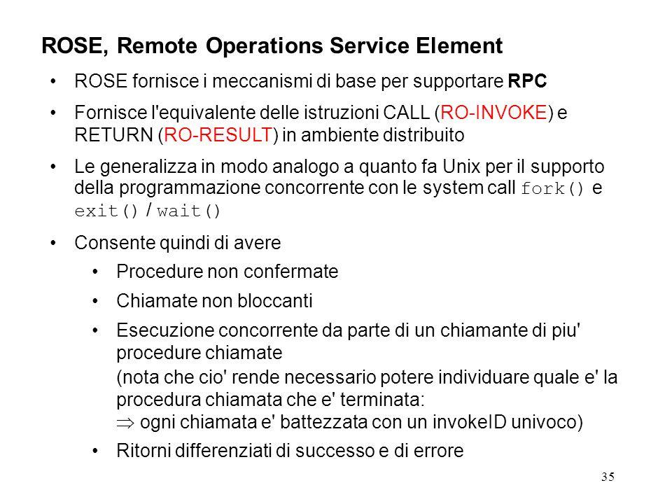 35 ROSE, Remote Operations Service Element ROSE fornisce i meccanismi di base per supportare RPC Fornisce l'equivalente delle istruzioni CALL (RO-INVO