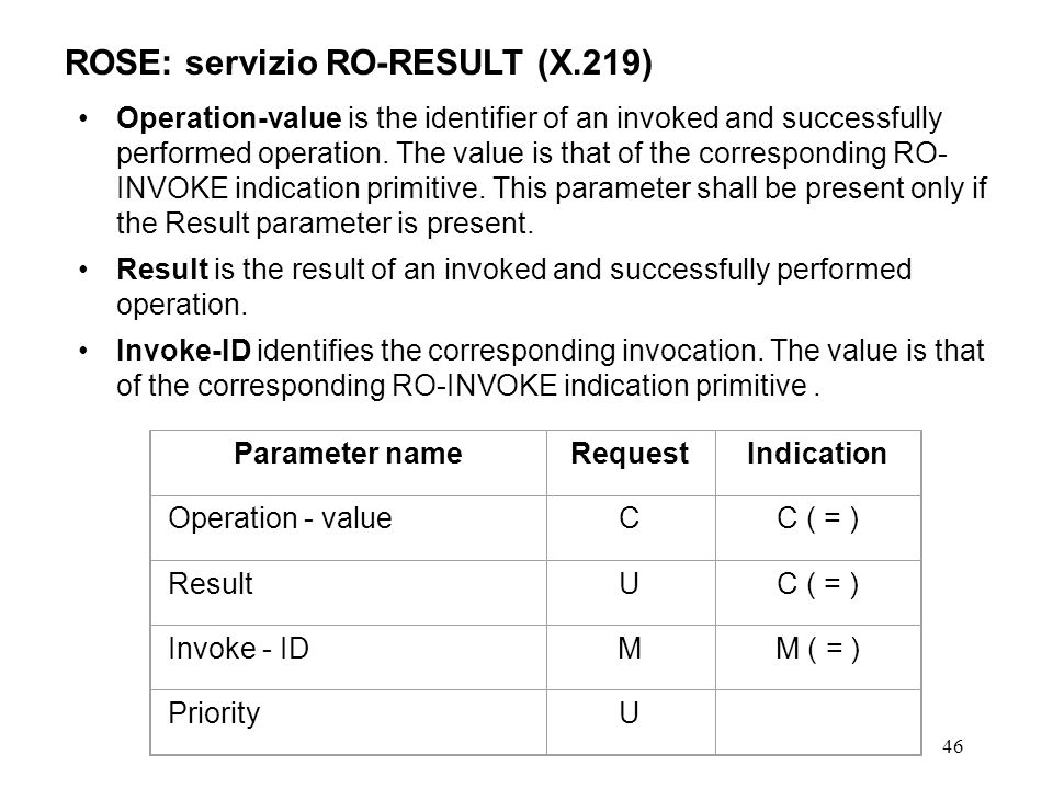 46 ROSE: servizio RO-RESULT (X.219) Operation-value is the identifier of an invoked and successfully performed operation. The value is that of the cor