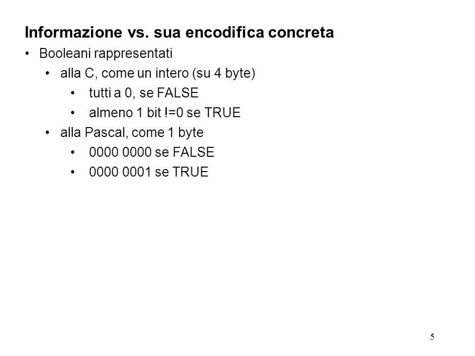 5 Informazione vs. sua encodifica concreta Booleani rappresentati alla C, come un intero (su 4 byte) tutti a 0, se FALSE almeno 1 bit !=0 se TRUE alla