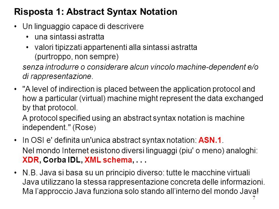 7 Risposta 1: Abstract Syntax Notation Un linguaggio capace di descrivere una sintassi astratta valori tipizzati appartenenti alla sintassi astratta (
