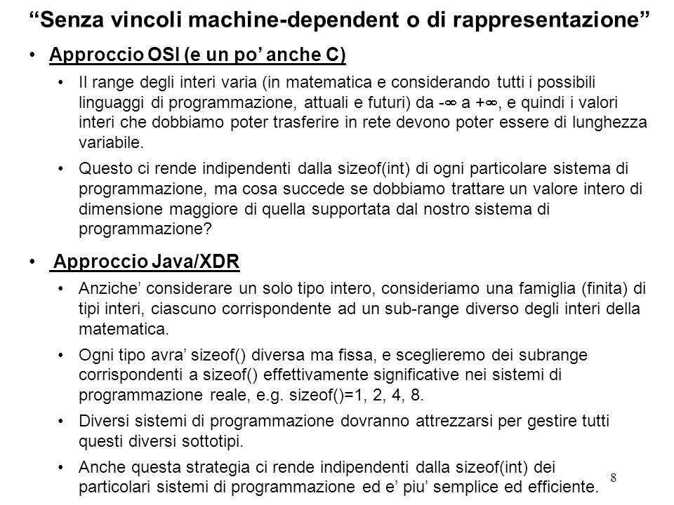 8 Senza vincoli machine-dependent o di rappresentazione Approccio OSI (e un po anche C) Il range degli interi varia (in matematica e considerando tutt