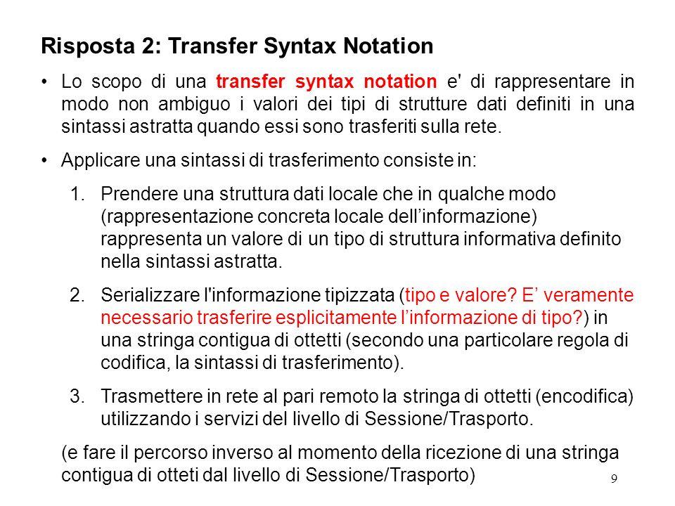 9 Risposta 2: Transfer Syntax Notation Lo scopo di una transfer syntax notation e' di rappresentare in modo non ambiguo i valori dei tipi di strutture