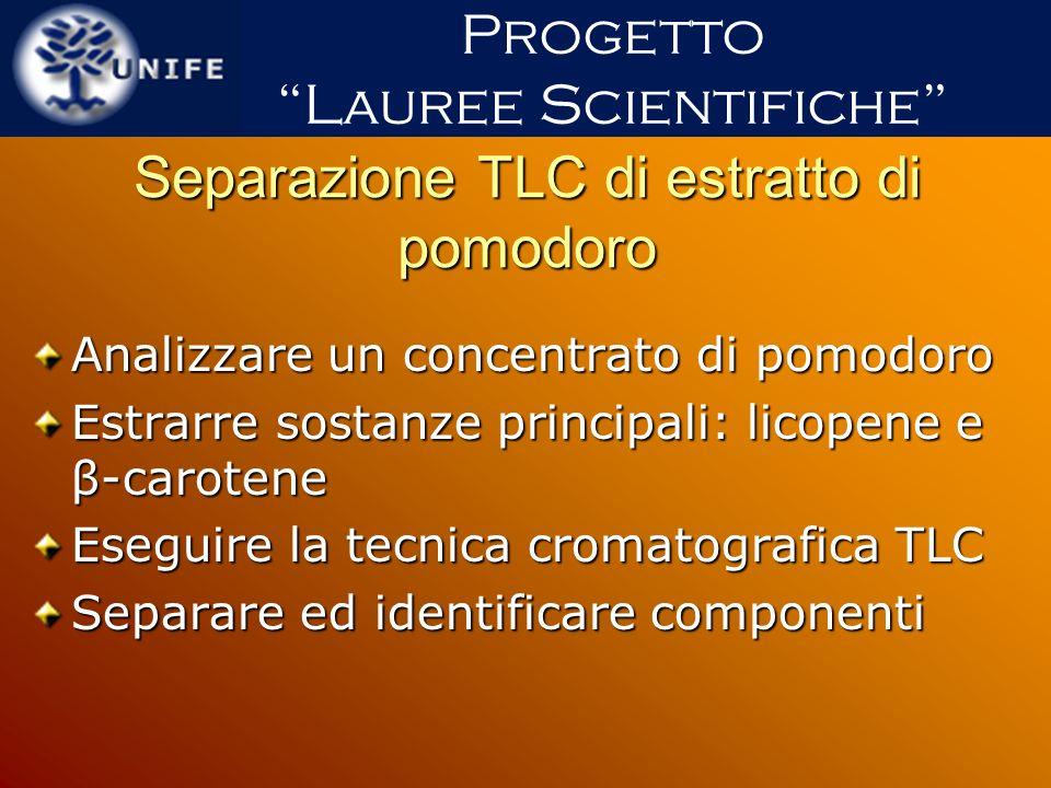 Separazione TLC di estratto di pomodoro Analizzare un concentrato di pomodoro Estrarre sostanze principali: licopene e β-carotene Eseguire la tecnica