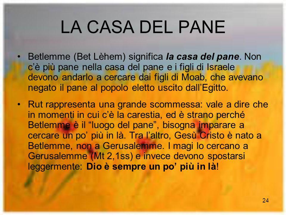 24 LA CASA DEL PANE Betlemme (Bet Lèhem) significa la casa del pane.