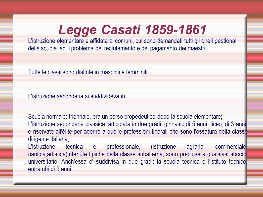 Legge Casati 1859-1861 L'istruzione elementare è affidata ai comuni, cui sono demandati tutti gli oneri gestionali delle scuole ed il problema del rec