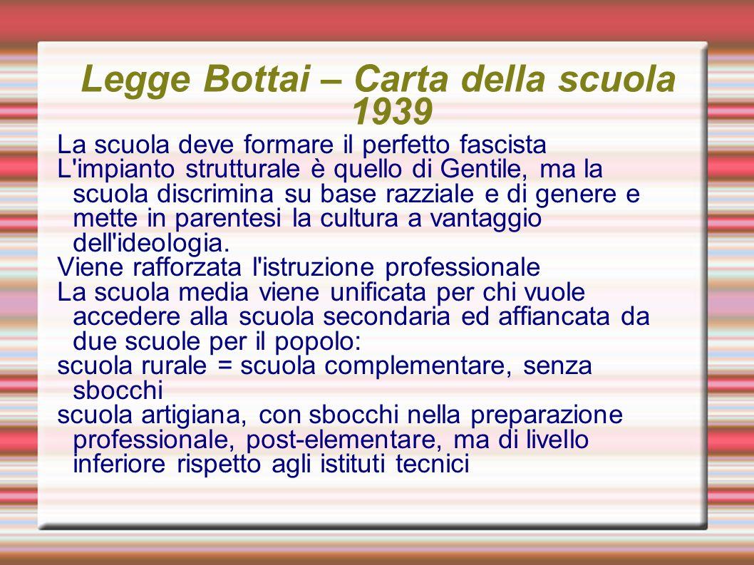 Legge Bottai – Carta della scuola 1939 La scuola deve formare il perfetto fascista L'impianto strutturale è quello di Gentile, ma la scuola discrimina