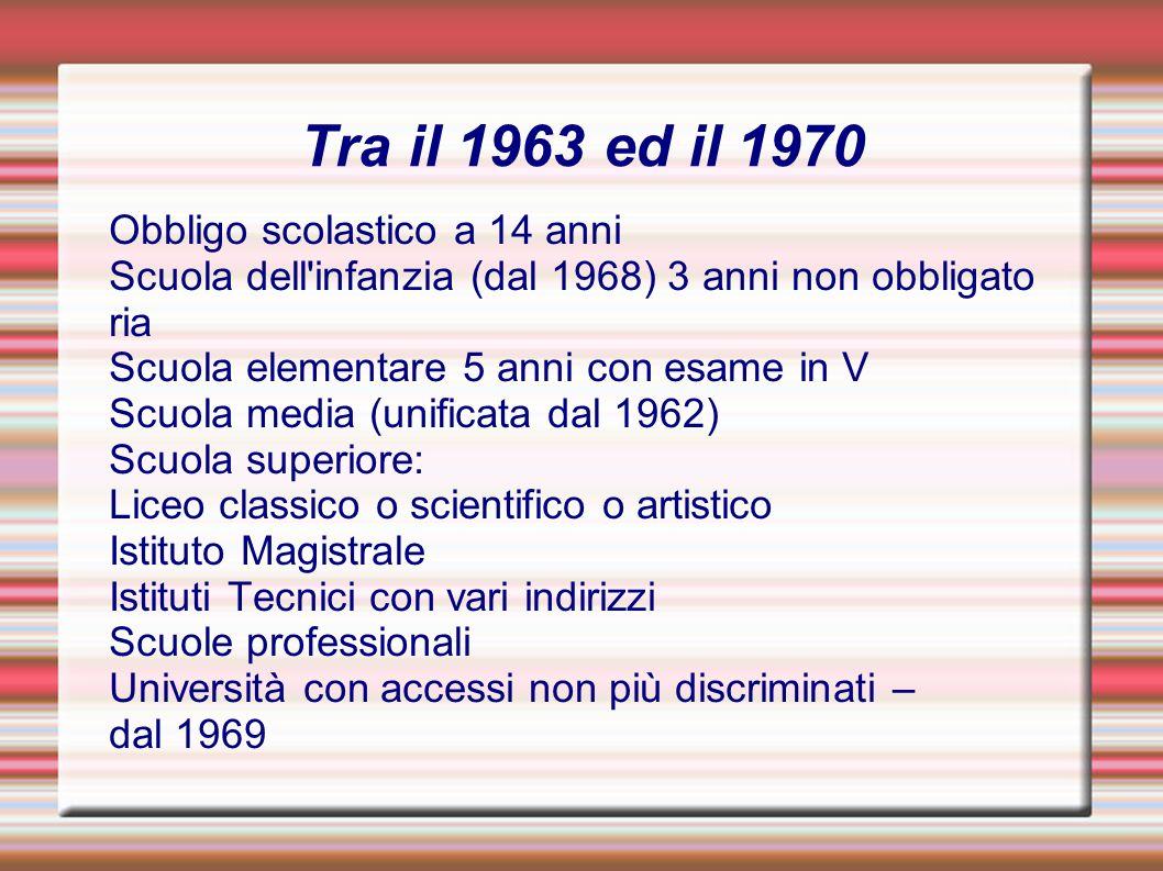 Tra il 1963 ed il 1970 Obbligo scolastico a 14 anni Scuola dell'infanzia (dal 1968) 3 anni non obbligato ria Scuola elementare 5 anni con esame in V S