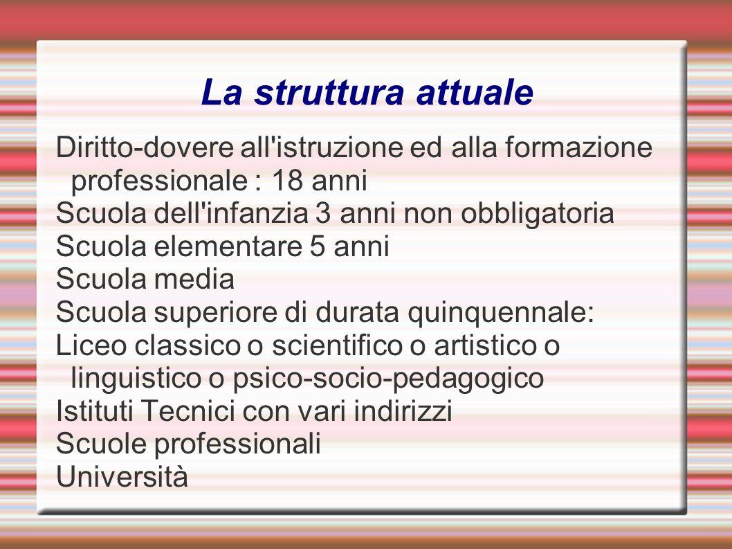 La struttura attuale Diritto-dovere all'istruzione ed alla formazione professionale : 18 anni Scuola dell'infanzia 3 anni non obbligatoria Scuola elem