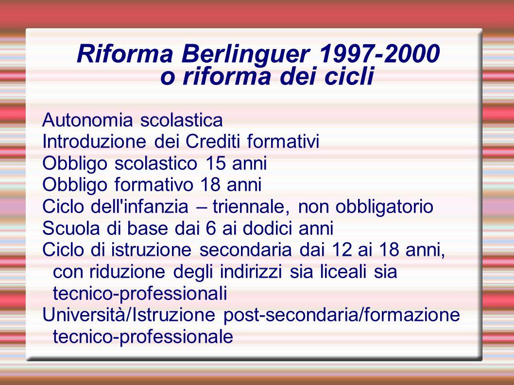 Riforma Berlinguer 1997-2000 o riforma dei cicli Autonomia scolastica Introduzione dei Crediti formativi Obbligo scolastico 15 anni Obbligo formativo