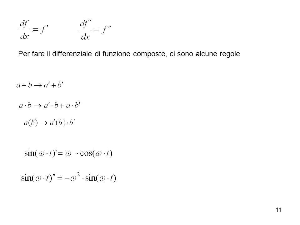 11 Per fare il differenziale di funzione composte, ci sono alcune regole
