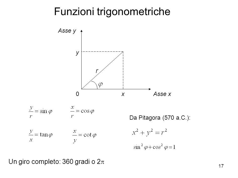 17 Funzioni trigonometriche 0Asse x Asse y x y r Da Pitagora (570 a.C.): Un giro completo: 360 gradi o 2