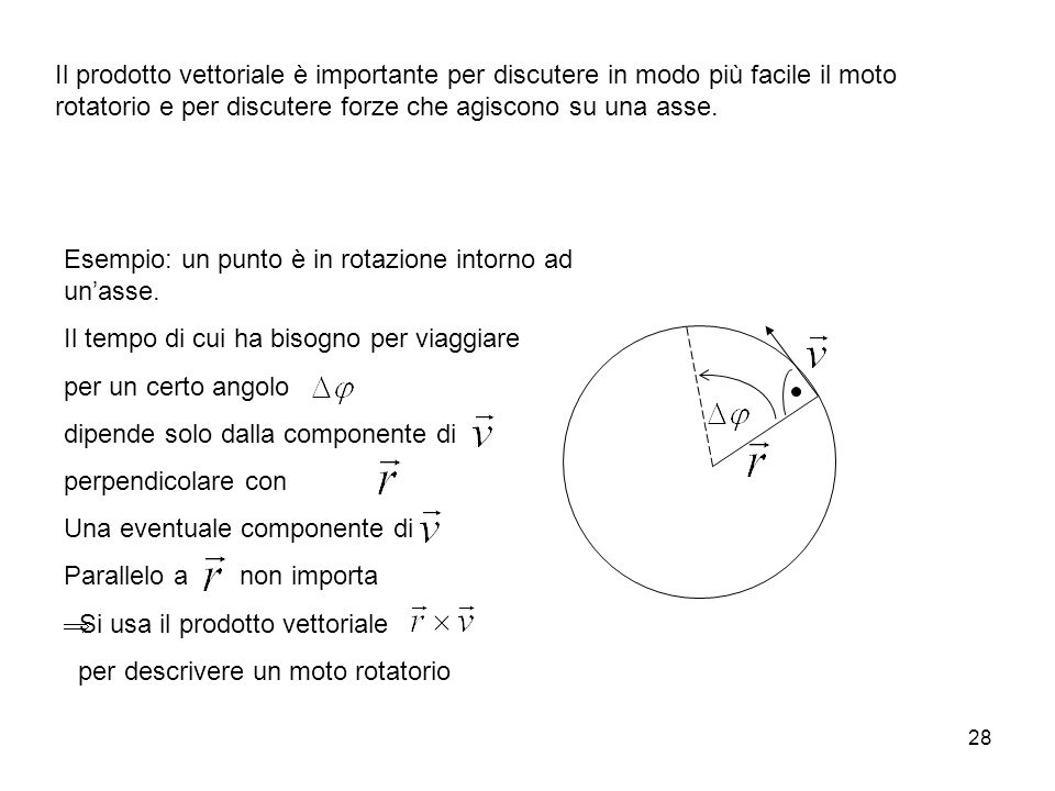 28 Il prodotto vettoriale è importante per discutere in modo più facile il moto rotatorio e per discutere forze che agiscono su una asse. Esempio: un