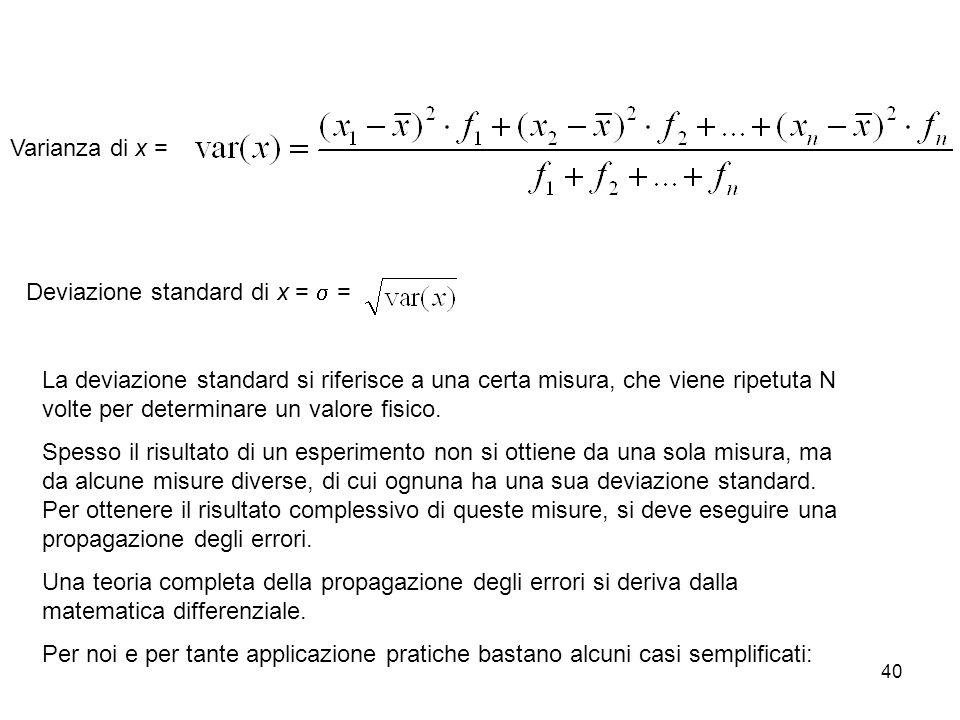 40 La deviazione standard si riferisce a una certa misura, che viene ripetuta N volte per determinare un valore fisico. Spesso il risultato di un espe