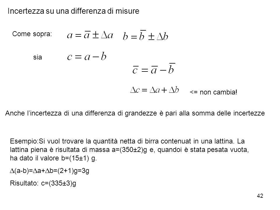 42 Incertezza su una differenza di misure Come sopra: sia <= non cambia! Anche lincertezza di una differenza di grandezze è pari alla somma delle ince