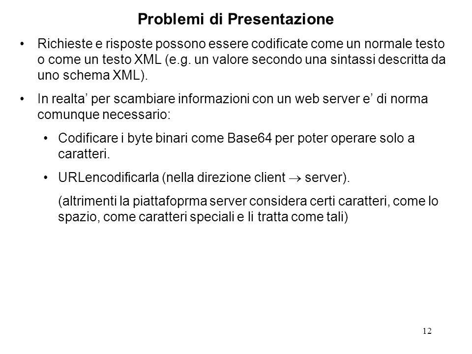 12 Problemi di Presentazione Richieste e risposte possono essere codificate come un normale testo o come un testo XML (e.g. un valore secondo una sint