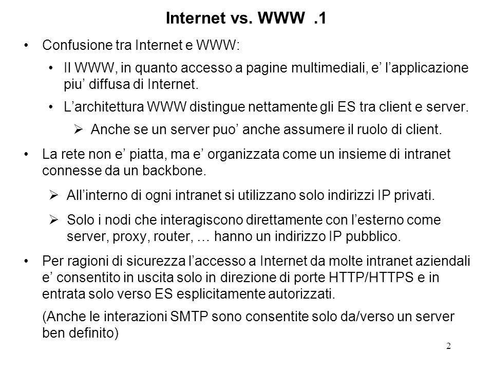 2 Internet vs. WWW.1 Confusione tra Internet e WWW: Il WWW, in quanto accesso a pagine multimediali, e lapplicazione piu diffusa di Internet. Larchite