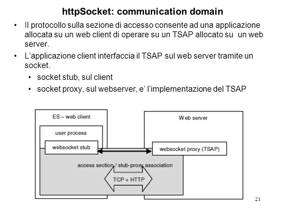 21 httpSocket: communication domain Il protocollo sulla sezione di accesso consente ad una applicazione allocata su un web client di operare su un TSAP allocato su un web server.