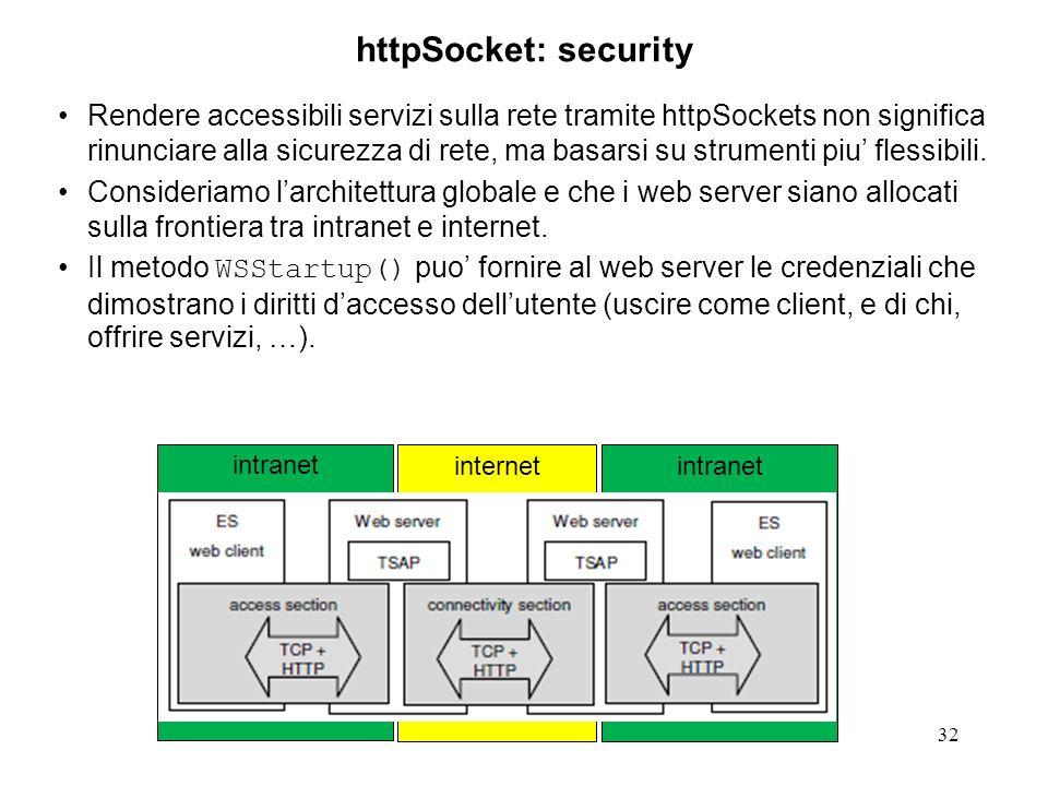 internetintranet 32 httpSocket: security Rendere accessibili servizi sulla rete tramite httpSockets non significa rinunciare alla sicurezza di rete, ma basarsi su strumenti piu flessibili.