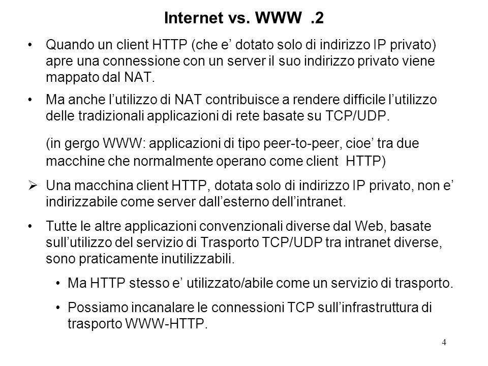 5 Tunnel HTTP Il tunnel, come illustrato nella figura, puo supportare qualunque applicazione tradizionale basata su comunicazioni attraverso ununica connessione TCP, e.g.