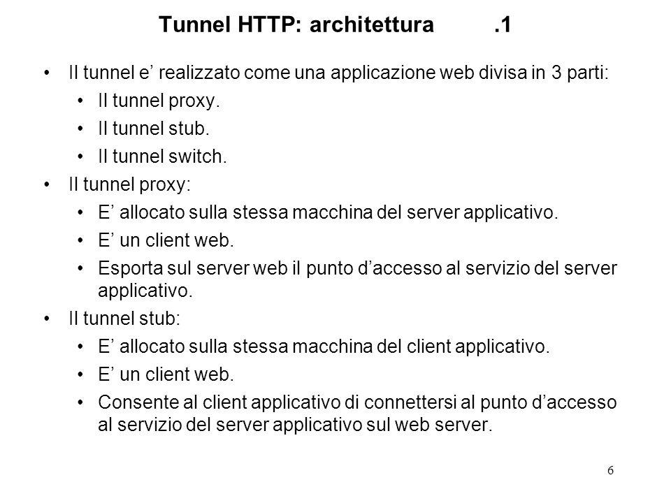 6 Tunnel HTTP: architettura.1 Il tunnel e realizzato come una applicazione web divisa in 3 parti: Il tunnel proxy. Il tunnel stub. Il tunnel switch. I