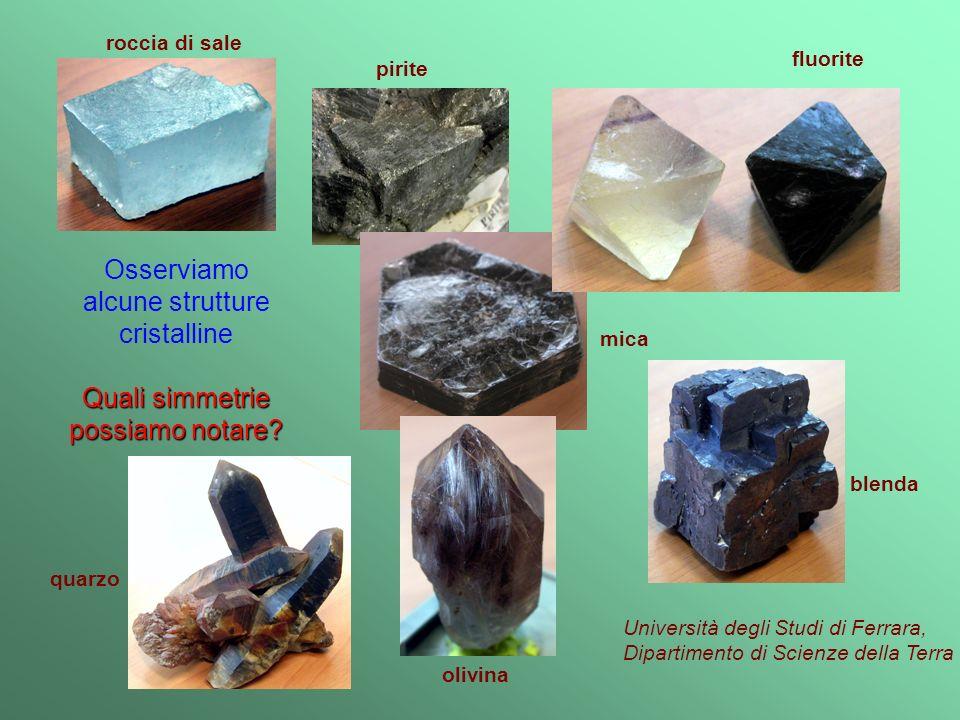 mica quarzo roccia di sale Università degli Studi di Ferrara, Dipartimento di Scienze della Terra blenda pirite olivina fluorite Osserviamo alcune strutture cristalline Quali simmetrie possiamo notare?