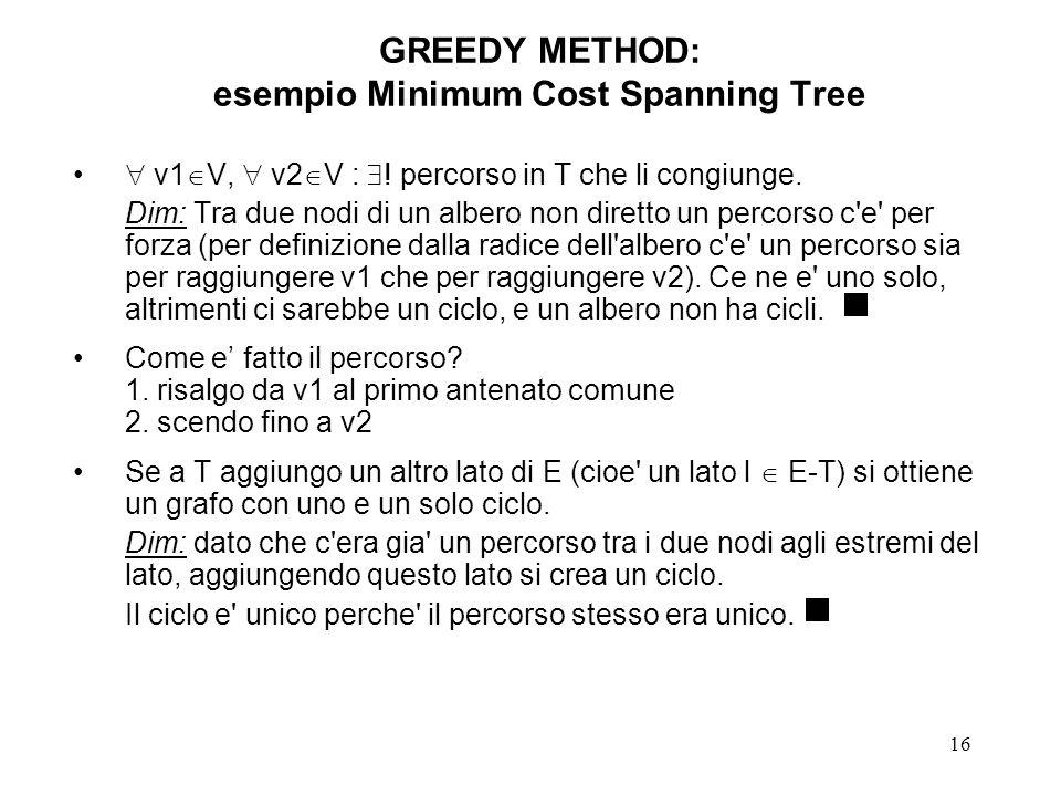 16 GREEDY METHOD: esempio Minimum Cost Spanning Tree v1 V, v2 V : .