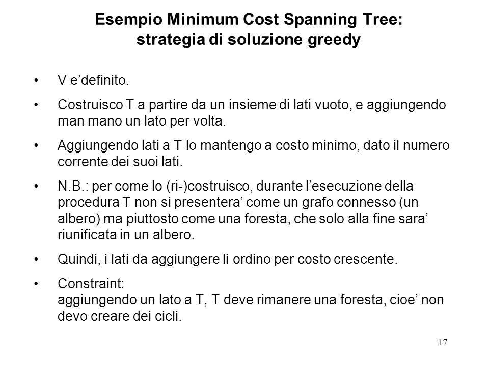 17 Esempio Minimum Cost Spanning Tree: strategia di soluzione greedy V edefinito.
