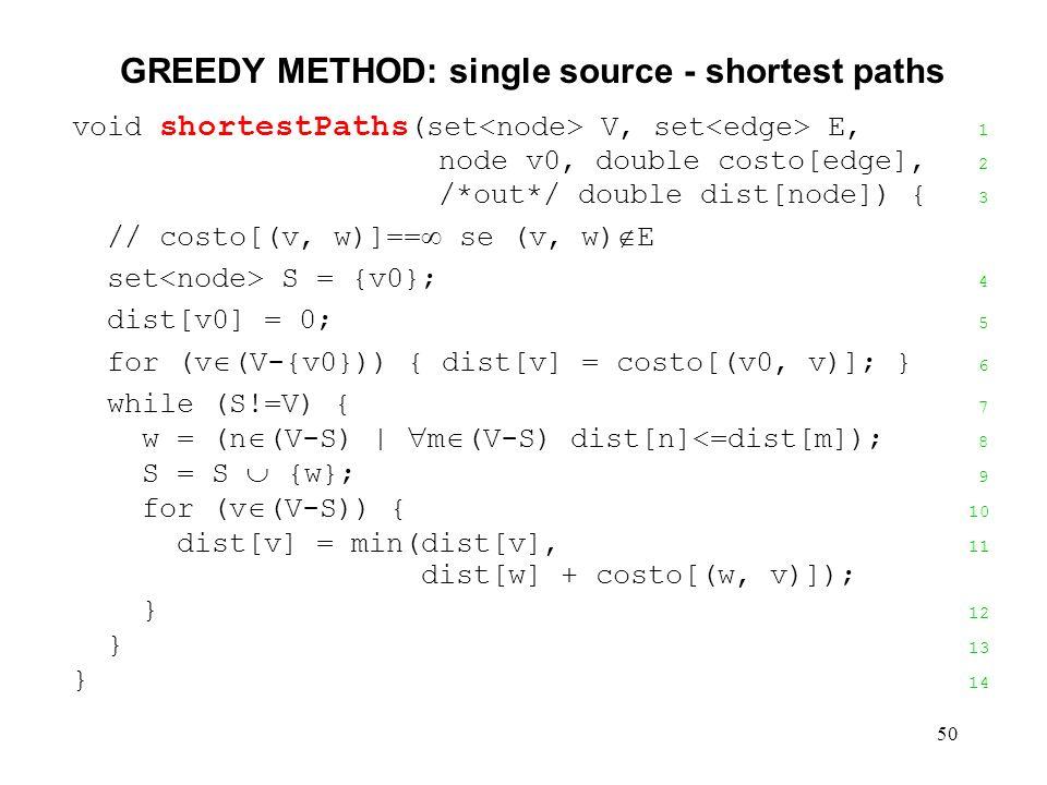 50 GREEDY METHOD: single source - shortest paths void shortestPaths (set V, set E, 1 node v0, double costo[edge], 2 /*out*/ double dist[node]) { 3 // costo[(v, w)]== se (v, w) E set S = {v0}; 4 dist[v0] = 0; 5 for (v (V-{v0})) { dist[v] = costo[(v0, v)]; } 6 while (S!=V) { 7 w = (n (V-S) | m (V-S) dist[n]<=dist[m]); 8 S = S {w}; 9 for (v (V-S)) { 10 dist[v] = min(dist[v], 11 dist[w] + costo[(w, v)]); } 12 } 13 } 14
