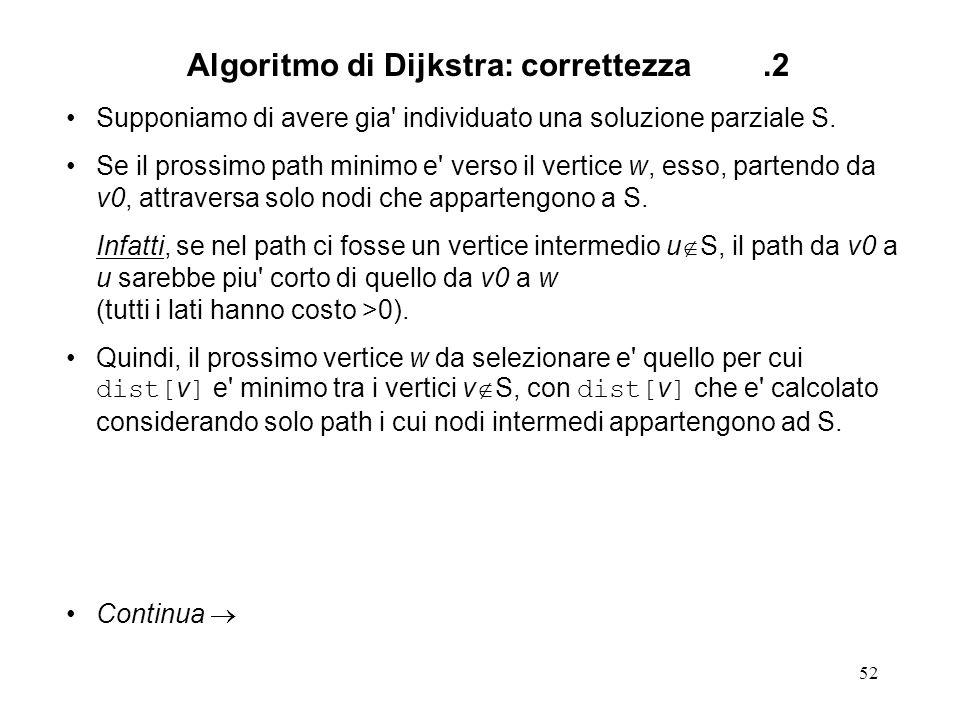 52 Algoritmo di Dijkstra: correttezza.2 Supponiamo di avere gia individuato una soluzione parziale S.