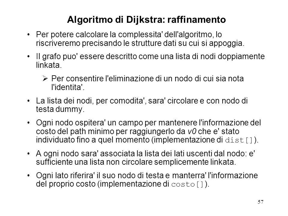 57 Algoritmo di Dijkstra: raffinamento Per potere calcolare la complessita dell algoritmo, lo riscriveremo precisando le strutture dati su cui si appoggia.