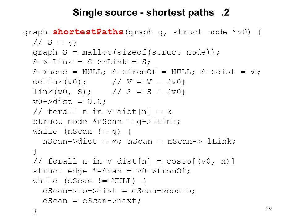 59 Single source - shortest paths.2 graph shortestPaths (graph g, struct node *v0) { // S = {} graph S = malloc(sizeof(struct node)); S->lLink = S->rLink = S; S->nome = NULL; S->fromOf = NULL; S->dist = ; delink(v0); // V = V – {v0} link(v0, S); // S = S + {v0} v0->dist = 0.0; // forall n in V dist[n] = struct node *nScan = g->lLink; while (nScan != g) { nScan->dist = ; nScan = nScan-> lLink; } // forall n in V dist[n] = costo[(v0, n)] struct edge *eScan = v0->fromOf; while (eScan != NULL) { eScan->to->dist = eScan->costo; eScan = eScan->next; }