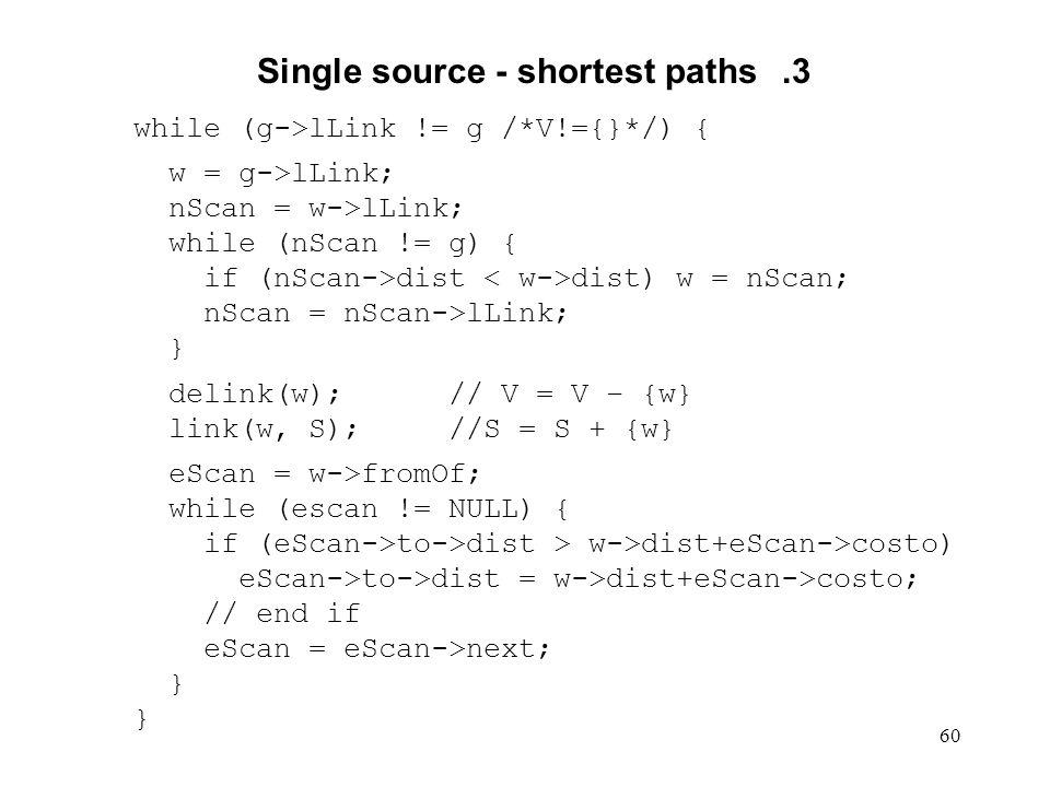 60 Single source - shortest paths.3 while (g->lLink != g /*V!={}*/) { w = g->lLink; nScan = w->lLink; while (nScan != g) { if (nScan->dist dist) w = n