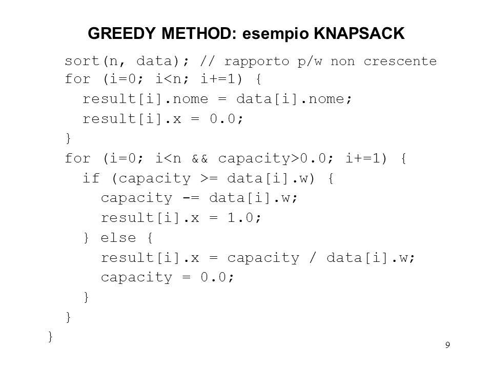 9 GREEDY METHOD: esempio KNAPSACK sort(n, data); // rapporto p/w non crescente for (i=0; i<n; i+=1) { result[i].nome = data[i].nome; result[i].x = 0.0; } for (i=0; i 0.0; i+=1) { if (capacity >= data[i].w) { capacity -= data[i].w; result[i].x = 1.0; } else { result[i].x = capacity / data[i].w; capacity = 0.0; }