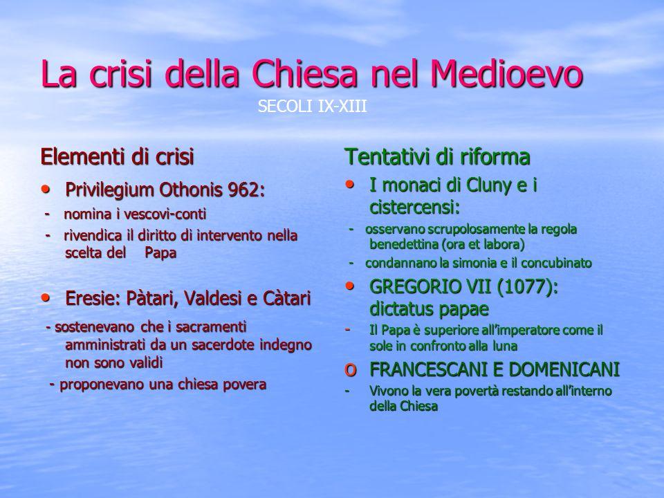La crisi della Chiesa nel Medioevo Elementi di crisi Privilegium Othonis 962: Privilegium Othonis 962: - nomina i vescovi-conti - nomina i vescovi-con