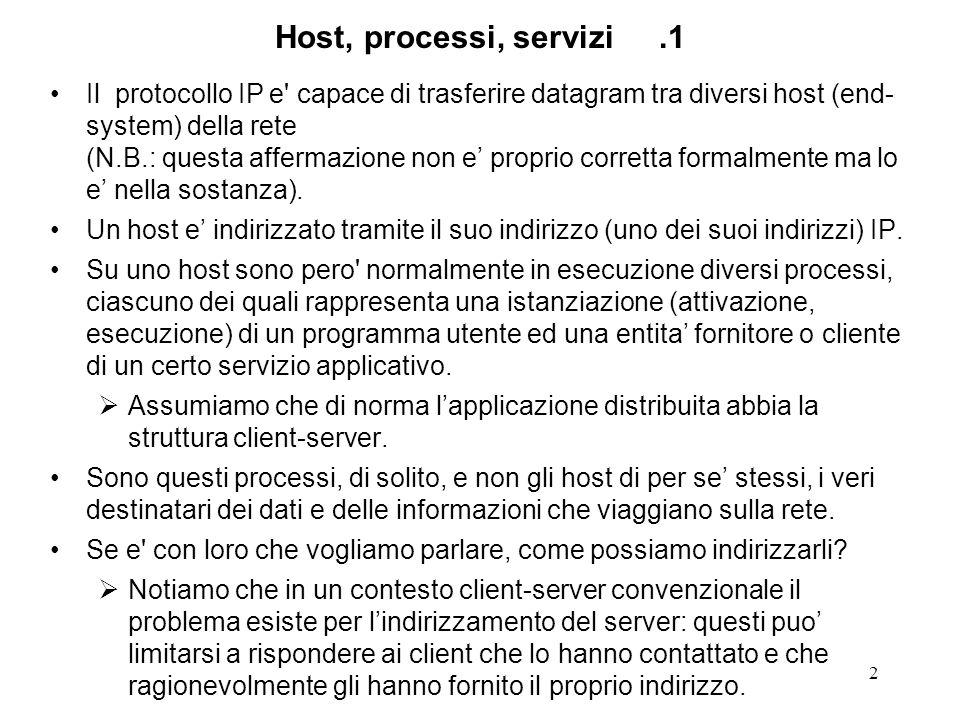 2 Host, processi, servizi.1 Il protocollo IP e capace di trasferire datagram tra diversi host (end- system) della rete (N.B.: questa affermazione non e proprio corretta formalmente ma lo e nella sostanza).