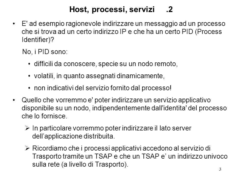 3 Host, processi, servizi.2 E ad esempio ragionevole indirizzare un messaggio ad un processo che si trova ad un certo indirizzo IP e che ha un certo PID (Process Identifier).